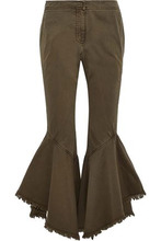 Cinq A Sept | Cinq A Sept Woman Wysteria Frayed Cotton-twill Kick-flare Pants Army Green Size 8 | Clouty