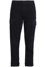 Re/done By Levi's | Re/done By Levi's Woman Cropped Distressed Textured-cotton Tapered Pants Midnight Blue Size 27 | Clouty