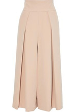 Milly | Milly Woman Pleated Cady Culottes Neutral Size 12 | Clouty