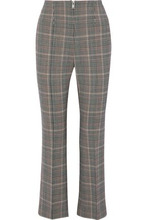 Sonia Rykiel | Sonia Rykiel Woman Cropped Houndstooth Wool-blend Flared Pants Gray Size 42 | Clouty