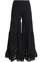 Goen.J | Goen.j Woman Gathered Broderie Anglaise Cotton Flared Pants Black Size M | Clouty