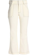 Derek Lam 10 Crosby | Derek Lam 10 Crosby Woman Cropped Stretch-cotton Twill Bootcut Pants Cream Size 0 | Clouty