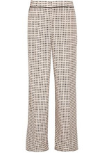Bottega Veneta | Bottega Veneta Woman Printed Silk Crepe De Chine Wide-leg Pants Beige Size 40 | Clouty