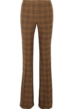 MICHAEL KORS | Michael Kors Collection Woman Printed Stretch-wool Bootcut Pants Light Brown Size 14 | Clouty