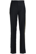 GIVENCHY   Givenchy Woman Velvet-trimmed Wool-crepe Straight-leg Pants Black Size 36   Clouty