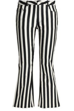 MARQUES'ALMEIDA | Marques' Almeida Woman Striped Duchesse-satin Kick-flare Pants Black Size 6 | Clouty