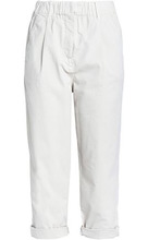 Brunello Cucinelli | Brunello Cucinelli Woman Cropped Cotton-blend Twill Straight-leg Pants Beige Size 40 | Clouty