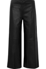 Adam Lippes | Adam Lippes Woman Cropped Leather Wide-leg Pants Black Size 0 | Clouty