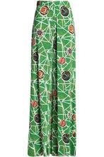 Stella Jean | Stella Jean Woman Pleated Printed Crepe Wide-leg Pants Green Size 40 | Clouty