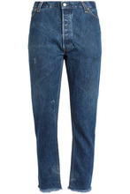 Re/done By Levi's | Re/done By Levi's Woman Distressed High-rise Straight-leg Jeans Dark Denim Size 29 | Clouty