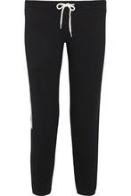 Monrow | Monrow Woman Cropped Metallic-trimmed French Terry Track Pants Black Size L | Clouty