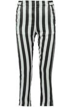 Ann Demeulemeester   Ann Demeulemeester Woman Striped Silk Skinny Pants Black Size 36   Clouty