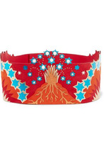 VALENTINO | Valentino Woman Embellished Metallic Leather And Suede Waist Belt Red Size 65 | Clouty