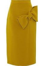 Roksanda | Roksanda Woman Knotted Crepe Midi Pencil Skirt Chartreuse Size 10 | Clouty