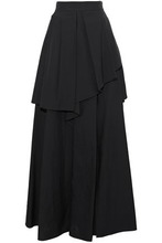 Brunello Cucinelli | Brunello Cucinelli Woman Layered Pleated Crinkled Cotton-blend Maxi Skirt Black Size 42 | Clouty