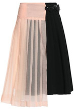 Marni | Marni Woman Asymmetric Seersucker-paneled Pleated Crepe Wrap Skirt Black Size 40 | Clouty