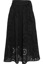 IRIS & INK | Iris & Ink Woman Mel Gathered Broderie Anglaise Cotton Midi Skirt Black Size 14 | Clouty