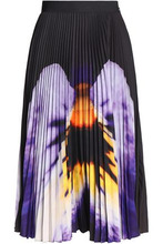 CHRISTOPHER KANE | Christopher Kane Woman Printed Plisse Cady Midi Skirt Black Size 8 | Clouty