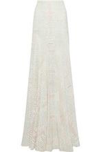 Roberto Cavalli | Roberto Cavalli Woman Snake-print Silk Crepe De Chine Maxi Skirt White Size 48 | Clouty