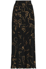VALENTINO | Valentino Woman Printed Silk Maxi Skirt Black Size 40 | Clouty
