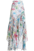 Peter Pilotto | Peter Pilotto Woman Ruffled Printed Silk-georgette Maxi Skirt White Size 12 | Clouty