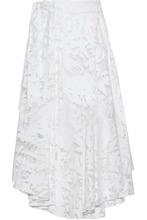 Milly | Milly Woman Asymmetric Fil Coupe Cotton-blend Midi Skirt White Size 12 | Clouty