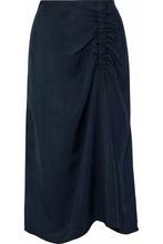 TIBI | Tibi Woman Ruched Satin-twill Skirt Storm Blue Size 6 | Clouty