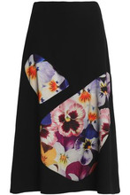 CHRISTOPHER KANE | Christopher Kane Woman Printed Tulle-paneled Wool-blend Crepe Midi Skirt Black Size 42 | Clouty