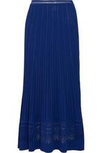 Oscar De La Renta | Oscar De La Renta Woman Pointelle-knit Maxi Skirt Royal Blue Size S | Clouty