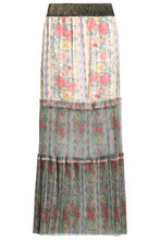 Anna Sui | Anna Sui Woman Pleated Floral-print Satin-jacquard And Tulle Maxi Skirt Ivory Size M | Clouty