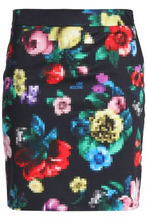 Love Moschino | Love Moschino Woman Printed Stretch-cotton Mini Skirt Black Size 44 | Clouty