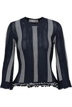 Derek Lam 10 Crosby | Derek Lam 10 Crosby Woman Ruffled Paneled Crochet And Pointelle-knit Sweater Midnight Blue Size L | Clouty