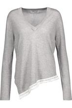 Derek Lam 10 Crosby | Derek Lam 10 Crosby Woman Asymmetric Embellished Silk And Cashmere-blend Sweater Gray Size L | Clouty