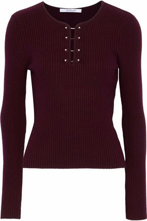 Derek Lam 10 Crosby | Derek Lam 10 Crosby Woman Ribbed-knit Wool Sweater Burgundy Size L | Clouty