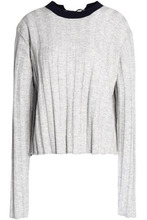 Derek Lam 10 Crosby | Derek Lam 10 Crosby Woman Open-back Ribbed Wool And Cashmere-blend Sweater Blue Size L | Clouty