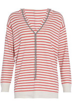 Brunello Cucinelli | Brunello Cucinelli Woman Bead-embellished Striped Cashmere Hooded Sweater Ivory Size L | Clouty