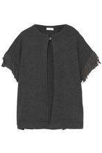 Brunello Cucinelli | Brunello Cucinelli Woman Fringe-trimmed Cashmere Cardigan Dark Gray Size S | Clouty