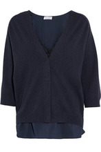 Brunello Cucinelli | Brunello Cucinelli Woman Layered Silk-blend Boucle And Cashmere Cardigan Navy Size XS | Clouty