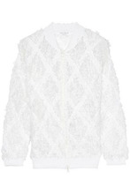 Brunello Cucinelli | Brunello Cucinelli Woman Frayed Open-knit Linen And Silk-blend Boucle Jacket White Size L | Clouty