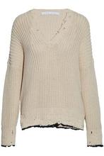 IRO | Iro Woman Distressed Cotton Sweater Mushroom Size S | Clouty
