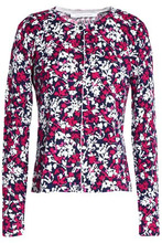 Diane Von Furstenberg | Diane Von Furstenberg Woman Floral-print Cotton And Silk-blend Cardigan Magenta Size XS | Clouty
