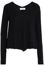 Derek Lam 10 Crosby | Derek Lam 10 Crosby Woman Draped Melange Wool-blend Sweater Black Size M | Clouty