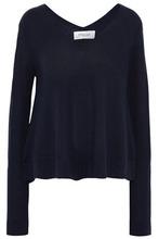 Derek Lam 10 Crosby | Derek Lam 10 Crosby Woman Draped Melange Wool-blend Sweater Midnight Blue Size L | Clouty