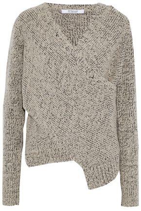 Derek Lam 10 Crosby   Derek Lam 10 Crosby Woman Wrap-effect Marled Boucle-knit Sweater Light Gray Size XS   Clouty