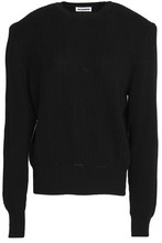 JIL SANDER | Jil Sander Woman Ribbed Cotton, Cashmere And Silk-blend Sweater Black Size 38 | Clouty