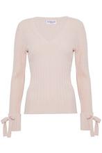 Derek Lam 10 Crosby | Derek Lam 10 Crosby Woman Bow-embellished Ribbed Wool-blend Sweater Pastel Pink Size L | Clouty