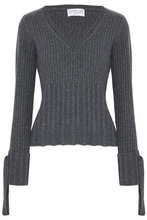 Derek Lam 10 Crosby | Derek Lam 10 Crosby Woman Bow-embellished Ribbed Wool-blend Sweater Anthracite Size L | Clouty