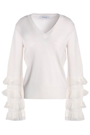 Derek Lam 10 Crosby | Derek Lam 10 Crosby Woman Flared Ruffle-trimmed Wool-blend Sweater Ivory Size XL | Clouty
