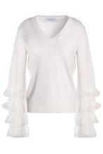 Derek Lam 10 Crosby | Derek Lam 10 Crosby Woman Flared Ruffle-trimmed Wool-blend Sweater Ivory Size XL | Clouty