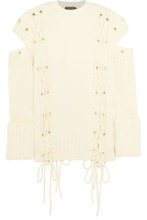 Alexander McQueen | Alexander Mcqueen Woman Cold-shoulder Lace-up Wool Sweater Ivory Size M | Clouty